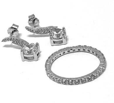 .925 Sterling Silver, 4.25ct Diamonique Diamond Lot of Ring & Earrings