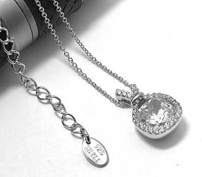 .925 Sterling Silver, 4.25ct Diamonique Diamond Pendant Necklace