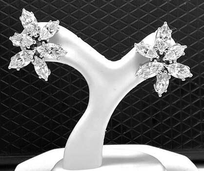 .925 Sterling Silver, 4.25ct Diamonique Diamond Stud Earrings