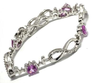.925 Sterling Silver, 4.25ct Pink Topaz & 0.07ct White Topaz Bracelet