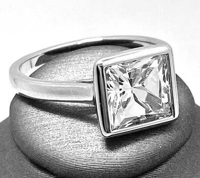 .925 Sterling Silver, 4.25ct Princess Cut Diamonique Diamond Anniversary Ring