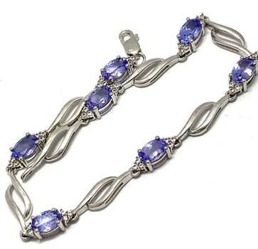 .925 Sterling Silver, 4.25ct Tanzanite & 0.25ct White Topaz Bracelet