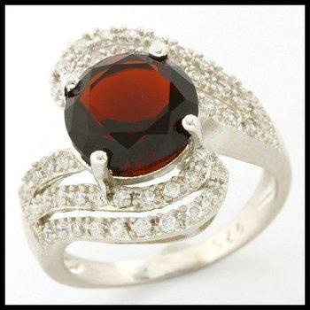 .925 Sterling Silver, 4.25ctw Garnet & White Sapphire Ring sz 6