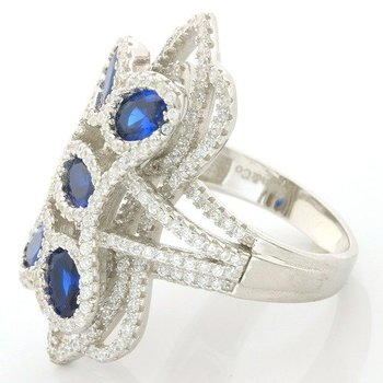 .925 Sterling Silver, 4.75ctw Sapphire & (AAA Grade) CZ's Ring size 7