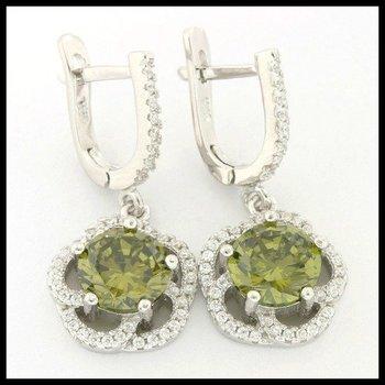 .925 Sterling Silver, 4.86ctw Peridot & (AAA Grade) CZ's Earrings