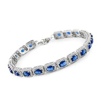 "925 Sterling Silver 4mm Princess Cut Cubic Zirconia CZ Tennis Bracelet, 7""-7.5"" Long"