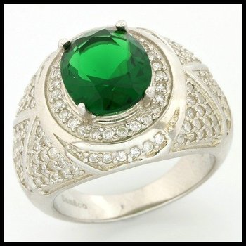.925 Sterling Silver, 5.10ctw Emerald & (AAA Grade) CZ's Ring size 7