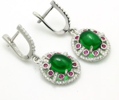 .925 Sterling Silver, 5.23ctw Cabochon Emerald, Pink Sapphire & AAA Grade Australian Cz's Vintage Style Earrings
