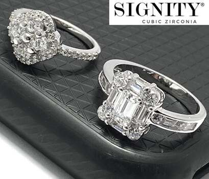 """.925 Sterling Silver, 5.25ct """"SIGNITY STAR"""" Cubic Zirconia Lot of Two Rings Sizes 5 & 8"""