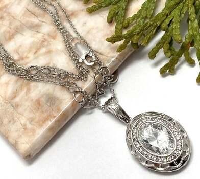 .925 Sterling Silver, 5.25ct White Diamonique Necklace