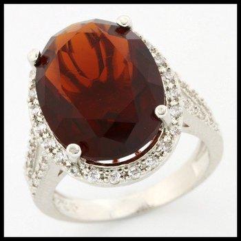 .925 Sterling Silver, 5.80ctw Garnet & (AAA Grade) CZ's Ring sz 6