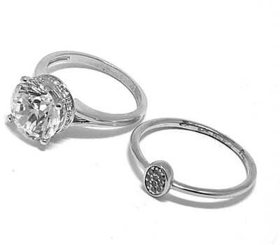 .925 Sterling Silver, 6.50ct Diamonique Diamond Lot of 2 Rings