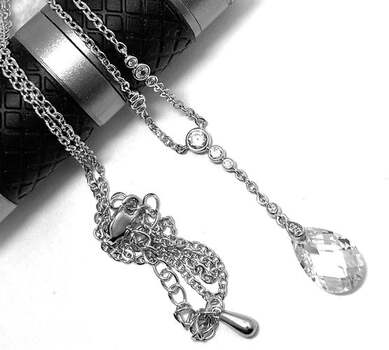 .925 Sterling Silver, 6.55ct Diamonique Diamond Pendant Necklace