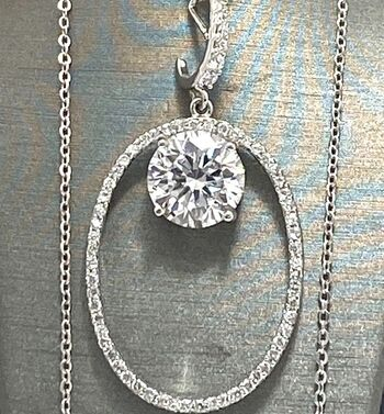.925 Sterling Silver 7.00ctw Diamonique Necklace