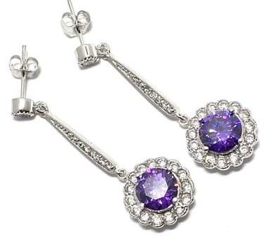 .925 Sterling Silver, 7.50ctw Amethyst & 0.25ctw White Diamoniqiue Dangle Earrings