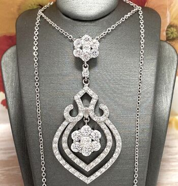 .925 Sterling Silver 7.50ctw Diamonique Necklace