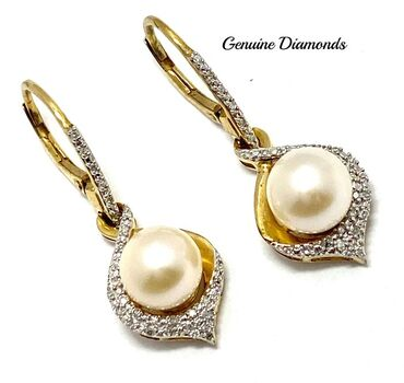 .925 Sterling Silver 7mm Pearl & 0.20ct Genuine Diamond  Earrings