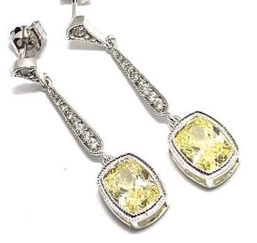 .925 Sterling Silver, 8.0ctw Canary Diamonique & 0.10ctw White Diamoniqiue Earrings