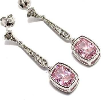 ..925 Sterling Silver, 8.0ctw Pink Topaz & 0.10ctw White Diamoniqiue Earrings
