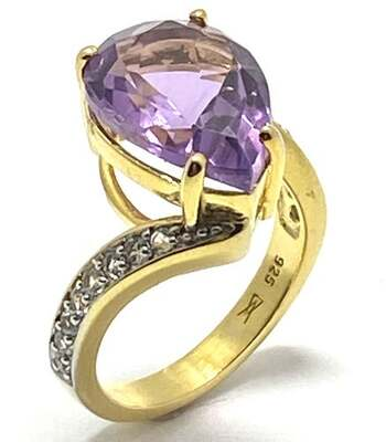 .925 Sterling Silver, 8.75ct Amethyst & White Topaz Ring Size 6