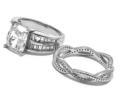 .925 Sterling Silver, 8.75ct Diamonique Diamond Lot of 2 Rings