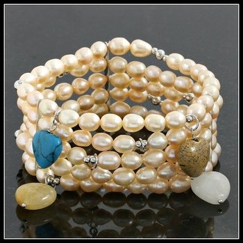 .925 Sterling Silver, 8mm Freshwater Pearl Multi Strand Stretch Bracelet with Heart Shape Charms
