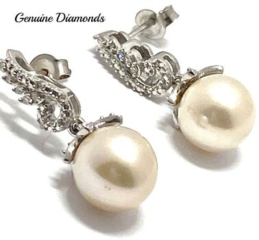 .925 Sterling Silver 8mm Pearl & 0.098ct Genuine Diamond Earrings