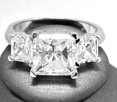 .925 Sterling Silver, 9.75ct Princess Cut Diamonique Diamond Engagement Ring