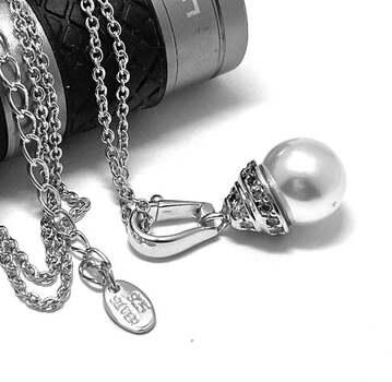 .925 Sterling Silver 9mm Pearl & 0.10ct Diamonique Necklace