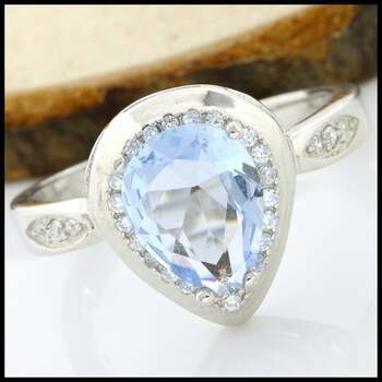 .925 Sterling Silver AAA Grade Blue & White CZ Ring Size 8