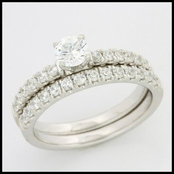 .925 Sterling Silver AAA Grade CZ's Engagement Set of Two Rings Size 7