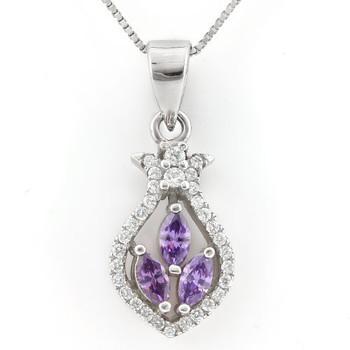 .925 Sterling Silver, Amethyst & AAA Grade Australian Cz's Necklace
