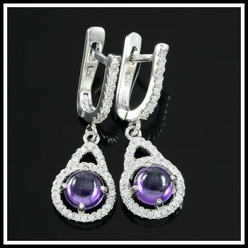 .925 Sterling Silver, Amethyst & AAA Grade Australian Cz's Vintage Style Earrings