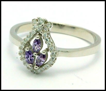 .925 Sterling Silver, Amethyst Ring   sizes 9.5