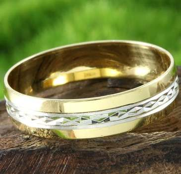 .925 Sterling Silver and (1/20) 10k Yellow Gold Anniversary Band RingSize 9.5