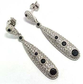 .925 Sterling Silver, Black Spinel & White Diamoniqiue Dangle Earrings 14k White Gold Over