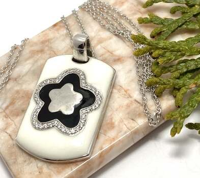 .925 Sterling Silver, Black & White Enamel & 0.25ct White Diamonique Necklace