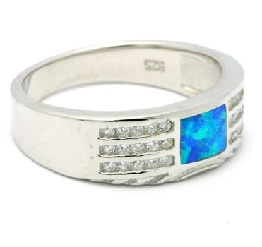 .925 Sterling Silver, Blue Opal  Ring size 8