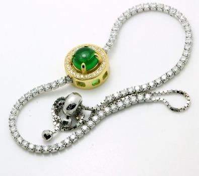 .925 Sterling Silver, Cabochon Emerald & AAA Grade Australian Cz's Adjustable Tennis Bracelet