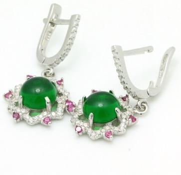.925 Sterling Silver, Cabochon Emerald, Pink Sapphire & AAA Grade Australian Cz's Earrings
