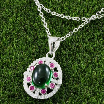 .925 Sterling Silver, Cabochon Emerald, Ruby & AAA Grade Australian Cz's Vintage Style Necklace