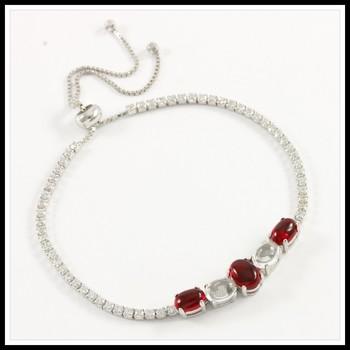 .925 Sterling Silver, Cabochon Ruby & Moon-Stone & AAA Grade Australian Cz's Adjustable Tennis Bracelet