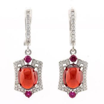 .925 Sterling Silver, Cabochon Ruby, Pink Sapphire & AAA Grade Australian Cz's Earrings