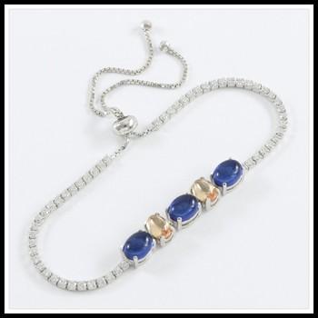 .925 Sterling Silver, Cabochon Sapphire & Golden Topaz & AAA Grade Australian Cz's Adjustable Tennis Bracelet