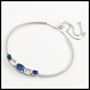 .925 Sterling Silver, Cabochon Sapphire & Moon-Stone & AAA Grade Australian Cz's Adjustable Tennis Bracelet