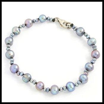 .925 Sterling Silver Clasp, 7mm Navy Blue Freshwater Pearl Bracelet