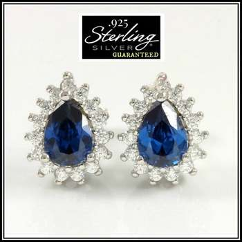 .925 Sterling Silver Created Blue & White Sapphire Earrings