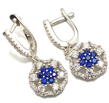 .925 Sterling Silver, Created Blue & White Sapphire Earrings