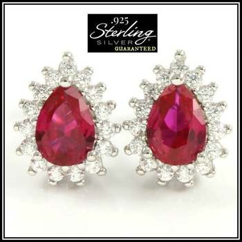 .925 Sterling Silver Created Corundum & White Sapphire Earrings