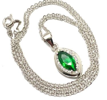 .925 Sterling Silver Created Emerald & White Sapphire Necklace